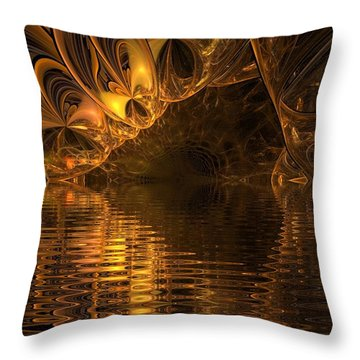 The Golden Cave Throw Pillow
