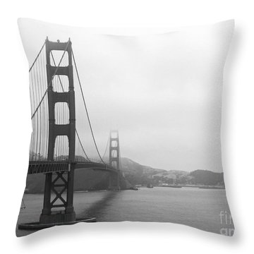The Golden Gate Bridge In Classic B W Throw Pillow