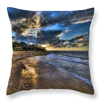 Throw Pillow featuring the photograph the golden hour during sunset at Israel by Ronsho