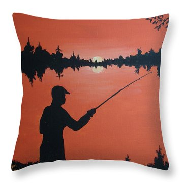 Throw Pillow featuring the painting The Golden Hour by Norm Starks