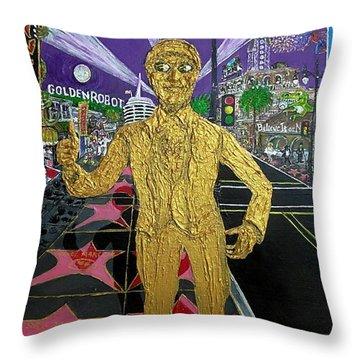 The Golden Robot Throw Pillow