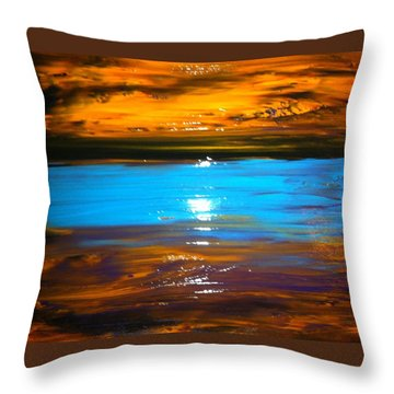 The Golden Sunset Throw Pillow by Kicking Bear  Productions