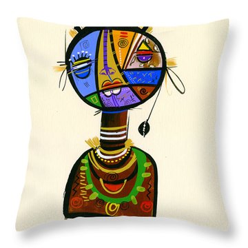 The Good Face Of Colours, 2013 Mixed Media On Card Throw Pillow