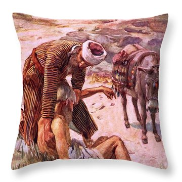 The Good Samaritan Throw Pillow by Harold Copping