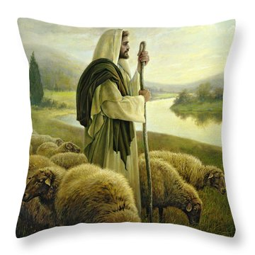 Throw Pillow featuring the painting The Good Shepherd by Greg Olsen