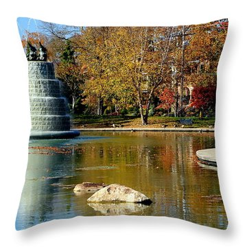 The Goodale Park  Fountain Throw Pillow by Laurel Talabere