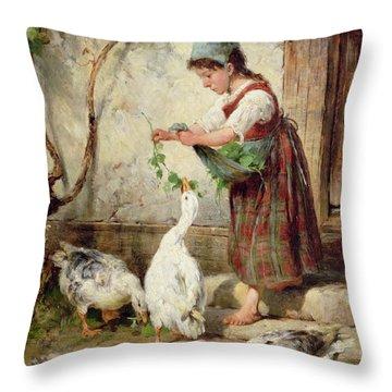 The Goose Girl Throw Pillow by Antonio Montemezzano