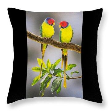 The Gorgeous Guys - Plum-headed Parakeets Throw Pillow by Frances McMahon