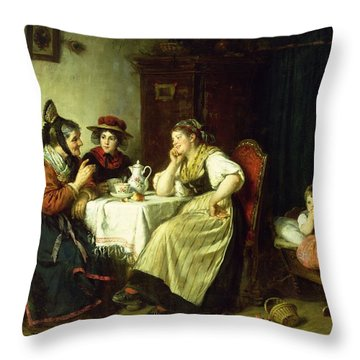 The Gossips, 1887 Oil On Canvas Throw Pillow