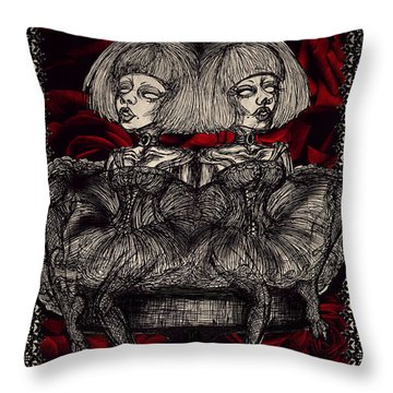 The Gothic Twin Girls Throw Pillow
