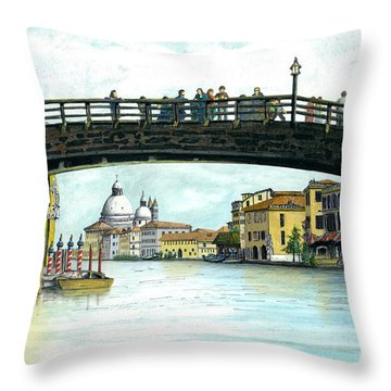 Throw Pillow featuring the painting The Grand Canal Venice Italy by Albert Puskaric