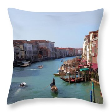 The Grand Canal Venice Oil Effect Throw Pillow