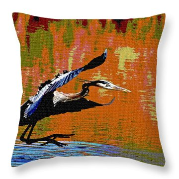 The Great Blue Heron Jumps To Flight Throw Pillow by Tom Janca