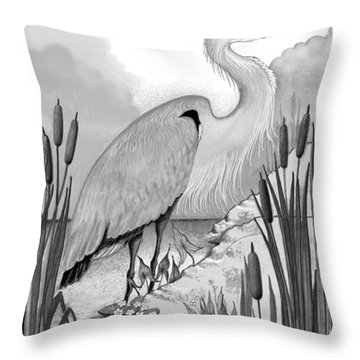 Throw Pillow featuring the digital art The Great Blue In Grey by Carol Jacobs