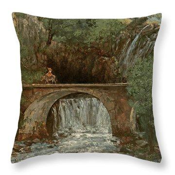 The Great Bridge, 1864 Throw Pillow by Gustave Courbet