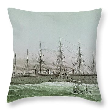 The Great Eastern Laying Electrical Cable Between Europe And America Throw Pillow by Louis Le Breton