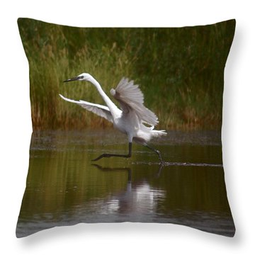 Throw Pillow featuring the photograph The Great Egret by Leticia Latocki