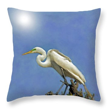 The Great Egret Throw Pillow by Marion Johnson