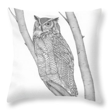 Throw Pillow featuring the drawing The Great Horned Owl Watches by Patricia Hiltz