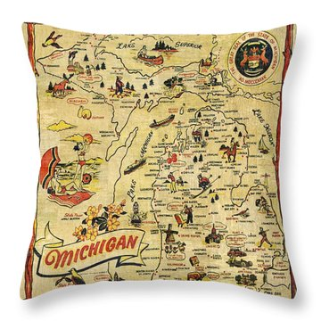 The Great Lakes State Throw Pillow