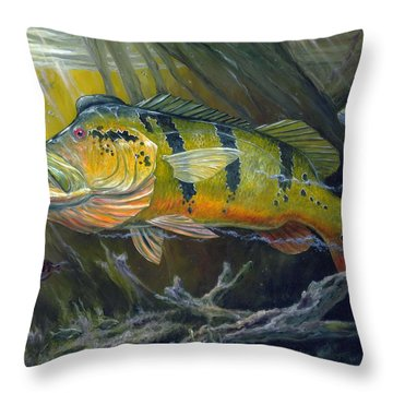 The Great Peacock Bass Throw Pillow