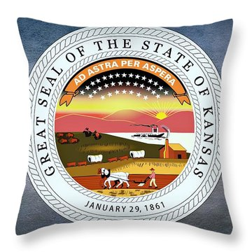 The Great Seal Of The State Of Kansas  Throw Pillow by Movie Poster Prints