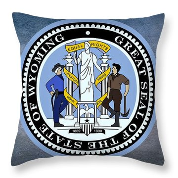 The Great Seal Of The State Of Wyoming Throw Pillow by Movie Poster Prints