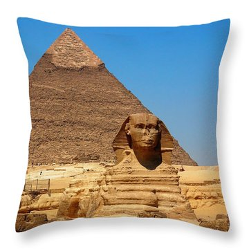 Throw Pillow featuring the photograph The Great Sphinx Of Giza And Pyramid Of Khafre by Joe  Ng