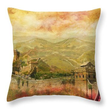 The Great Wall Of China Throw Pillow by Catf
