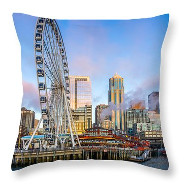 Throw Pillow featuring the photograph The Great Wheel Of Seattle by Ken Stanback