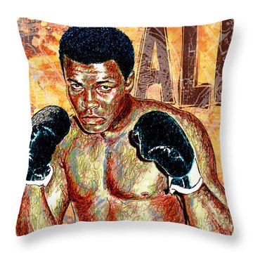 The Greatest Of All Time Throw Pillow by Maria Arango