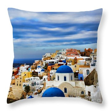 The Greek Isles-oia Throw Pillow