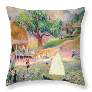 The Green Beach Cottage Throw Pillow by William James Glackens