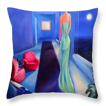 The Green Dress Throw Pillow by Frederick  Luff