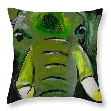 The Green Elephant In The Room Throw Pillow