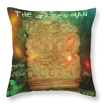 The Green Man - Recycle Throw Pillow by Absinthe Art By Michelle LeAnn Scott