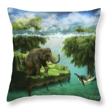 The Green Room Throw Pillow by Martine Roch