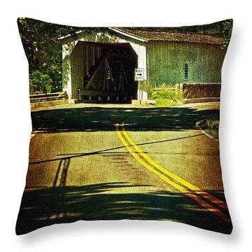 The Green Sergeants Covered Bridge Throw Pillow