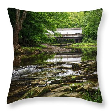 Throw Pillow featuring the photograph The Green Sergeants Covered Bridge II by Debra Fedchin