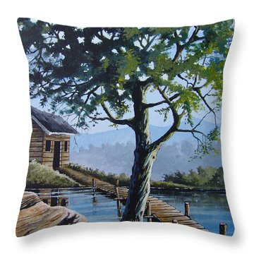 The Green Tree Throw Pillow by Anthony Mwangi