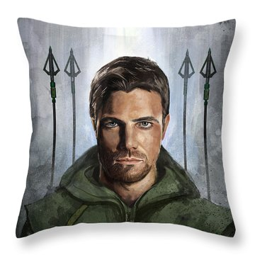 Throw Pillow featuring the digital art The Green Vigilante  by Steve Goad