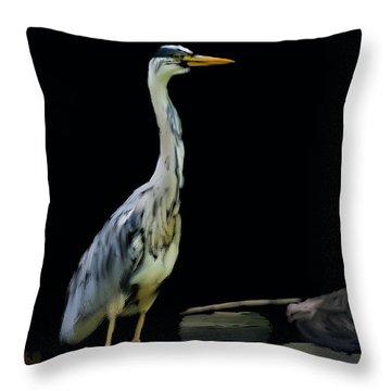 The Grey Heron Throw Pillow