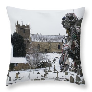 Throw Pillow featuring the digital art The Grim Reaper by Ron Harpham