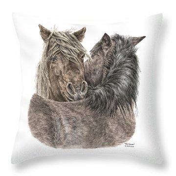 The Groom - Chincoteague Pony Print - Color Tinted Throw Pillow