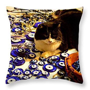 Throw Pillow featuring the photograph The Guard Of Evil Eye Beads by Zafer Gurel