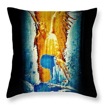 Throw Pillow featuring the digital art The Guardian Angel by Absinthe Art By Michelle LeAnn Scott