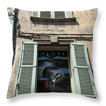 The Gucci Window Throw Pillow by John Stuart Webbstock