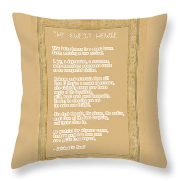 Throw Pillow featuring the digital art The Guest House Poem By Rumi by Celestial Images