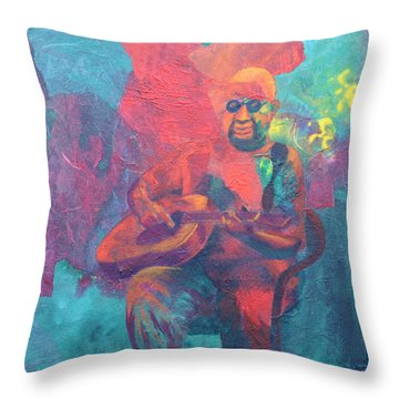 Throw Pillow featuring the painting The Guitar Player by Nancy Jolley