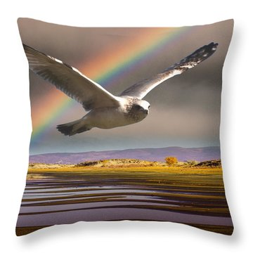 The Gull And The Rainbow Throw Pillow